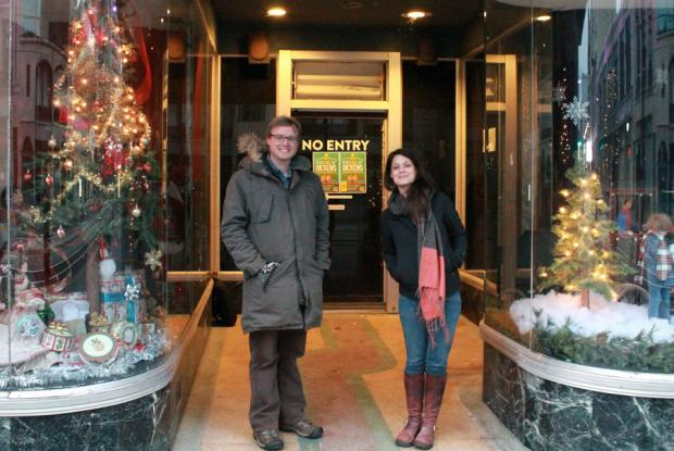 J.T. Rinker and Jax Deluca in front of Squeaky Wheel's new haunts in the Market Arcade building. Photo by Tina Dillman.