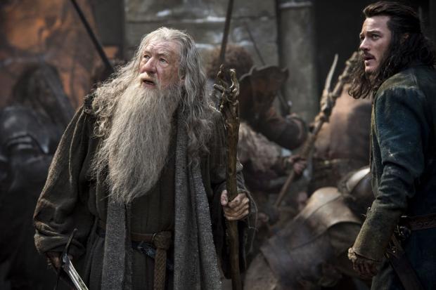 Ian McKellen and Luke Evans in The Hobbit: The Battle of the Five Armies