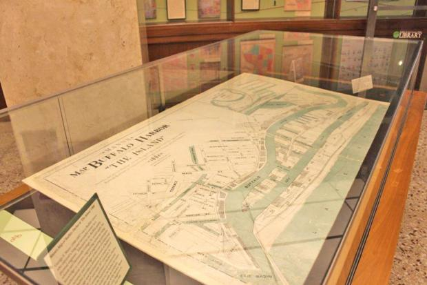 Maps of Buffalo harbor facilities at Buffalo's Central Library.