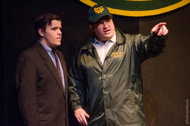 Tim Goehrig, who plays reporter Michael McCormick, and Matt Witten, who plays Vince Lombardi. Photo by Jim Bush.