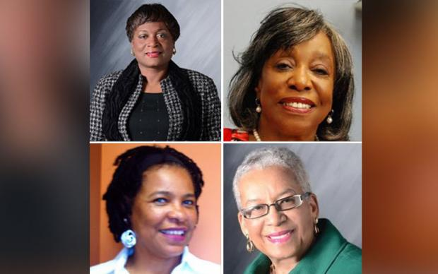 Board minority members clockwise from top left: Sharon Belton-Cottman, Mary Ruth Kapsiak, Dr. Barbara Seals Nevergold,  Dr. Teresa Harris-Tigg.