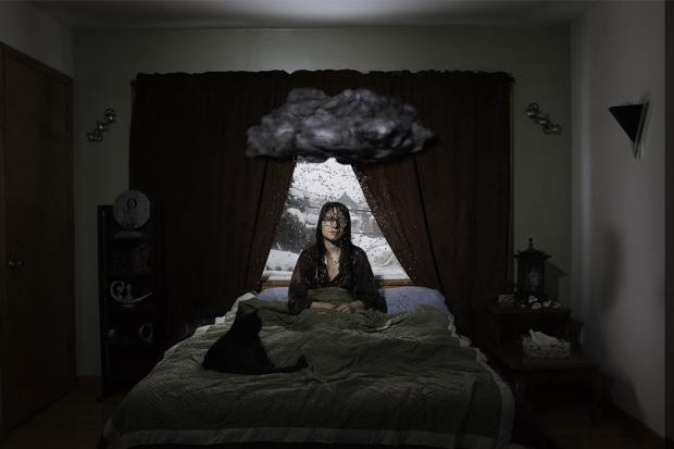 Woman waking up on the wrong side of the bed under a cloud, by Fredrick Mount.