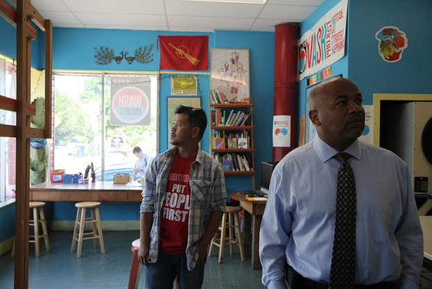 Speaker Heastie in the West Side's WASH Project with Zaw Win. Photos by Justin Sondel.