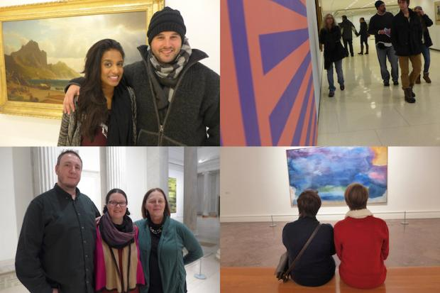 Clockwise from top left: Sonia Timothy and Alex Ritchie; Albright Knox visitors walking along a hallway; Scott Smith, Jennifer Graham, and Terry Graham; Alexis Thatcher and Jessie Allen. Photos by Nancy J. Parisi.