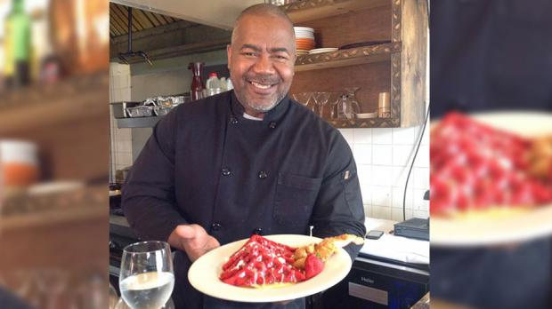 Chef Fred Daniels and his red velvet waffles.