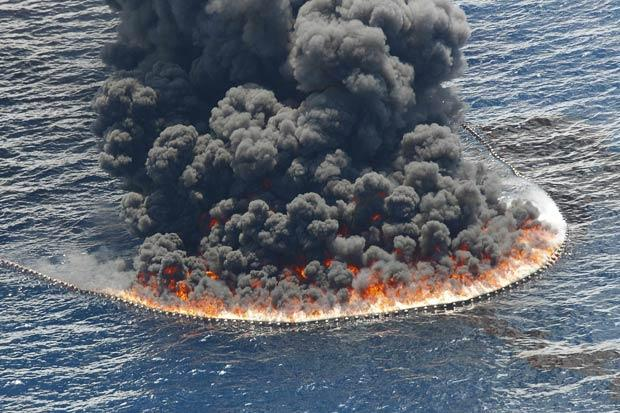 The Gulf is burning while the world fiddles- Photo source US Navy