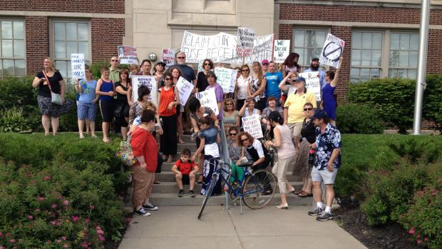 June 23: Protesters at the Buffalo Elementary School of Technology. Photo by Shane Meyer.