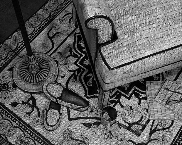 Detail of the Sitting area rug. Part of Ann Muntages's Skewed Perspective. (Click to enlarge.)