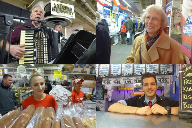 "Clockwise from top left: accordionist Ted Szymanski, mid-polka; shopper Barbara Wier, waiting to hear ""80!""; Ania Gurnari, owner of Chrusciki Bakery; and Adam Cichocki of Camellia Products. Photo by Nancy J. Parisi."