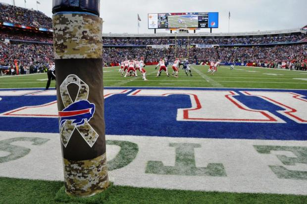 The goal post protector brought to us by our tax dollars. Photo courtesy of the Buffalo Bills.
