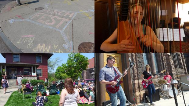 Clockwise from top left: Handy chalk directions on Elmwood Avenue; harpist Kela Walton performing inside Inn Buffalo; Science Lion on the steps of Lafayette Avenue Presbyterian Church; and Tilapia at 568 Lafayette. Photos: Nancy J. Parisi