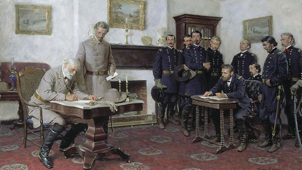 Surrender at Appomattox by Tom Lovell.