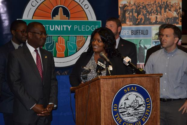 Mayor Brown, Franchelle Hart, and Aaron Bartley.