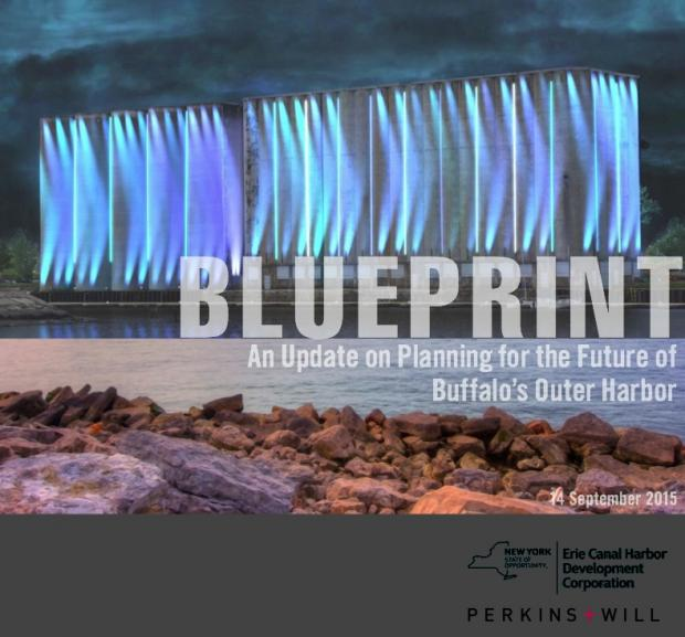 The cover of the ECHDC's most recent version (September 2015) of the $750,000 Perkins+Will plan for the Outer Harbor.