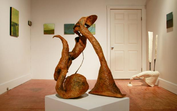 Sculpture by Karen A. Buchner, paintings by Bruce Philip Bitmead at the diminutive Box Gallery on Main Street.