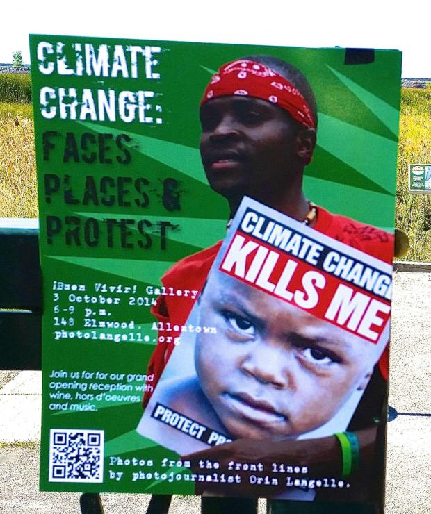 Climate Change Kills Me  poster by Orin Langelle, photo by Jburney at Times Beach Nature Preserve
