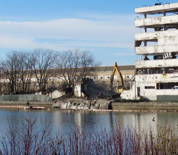 The collapse of the being demolished Freezer Queen building into the Small Boat Harbor, November 17, 2016 Photo by Jburney