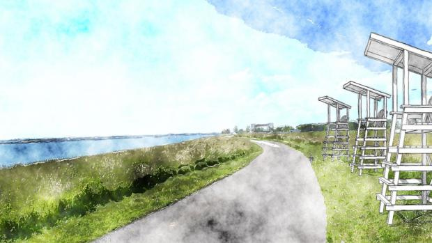 Proposed look-out chairs along the Outer Harbor biking and walking path.