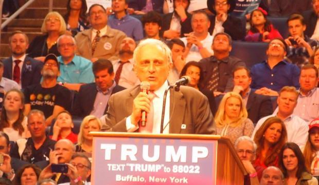 Carl Paladino speaks at the April 18 rally for Donald Trump at Buffalo's downtown hockey arena.