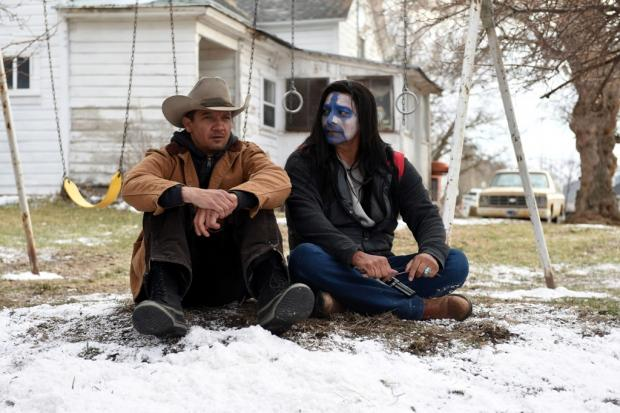 Jeremy Renner and Gil Birmingham in Wind River.