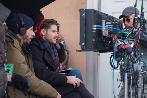 Director of photography Matthew Quinn and director Jon Abrahams monitor the action on the set of Clover, which wrapped a month of shooting in Buffalo last week. Photo courtesy of the filmmakers.