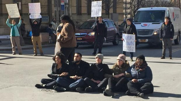 Activists blocking the street last February to protest the death of Wardel Davis.