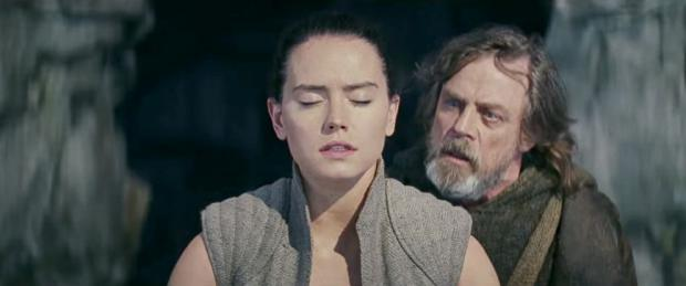Daisy Ridley and Mark Hamill in The Last Jedi.