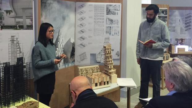 UB student architects Xiaojie Cao and William Baptiste.