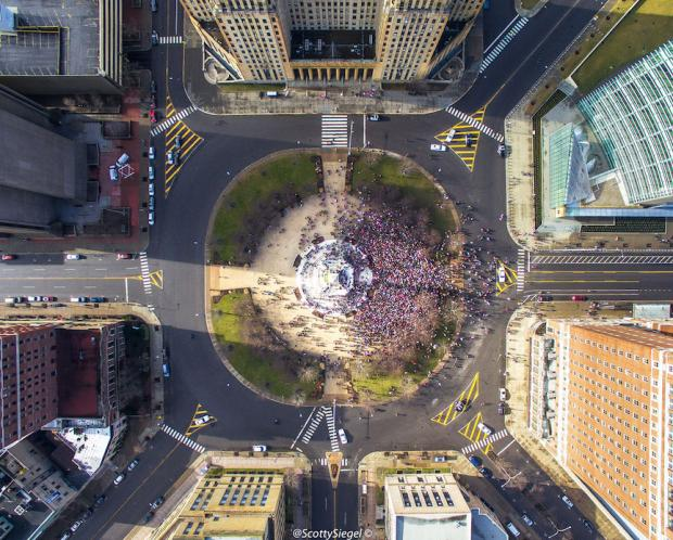 Saturday, January 21 march on Niagara Square. Photo courtesy of Buffalo Drone Photography's Scott Siegel.