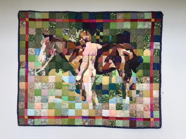 Jack Edson's quilt version of a photo by painter Thomas Eakins.