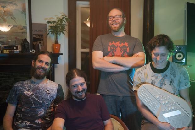 A Relative Term (L-R): Josh Elford, Mark Longolucco, and Jake Bernhardt, with honorary fourth memberRachel Heckl.