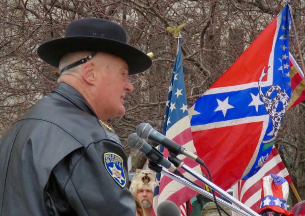 """Erie County Sheriff Tim Howard at the """"Spirit of America"""" rally in Niagara Square on April 1. Photo by Jay Burney."""