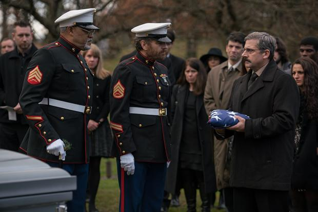 Laurence Fishburne, Bryan Cranston and Steve Carell in Last Flag Flying.