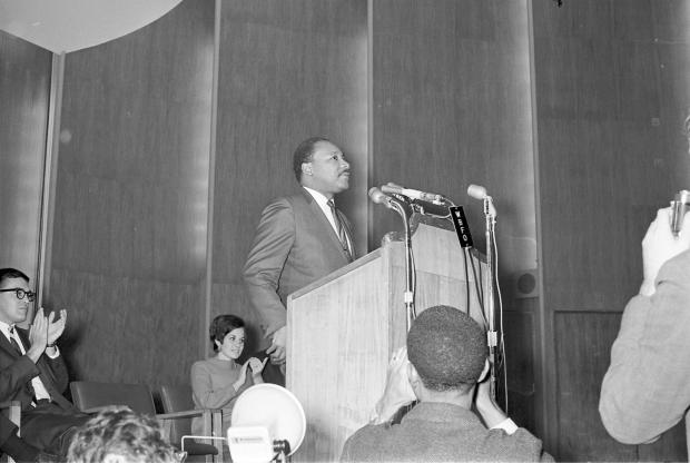 Martin Luther King, Jr. at Kleinhan's. Photo courtesy of the University at Buffalo, which had invited King to Buffalo.