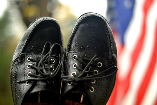Oak Street Bootmaker Black Mocs. Photo by Allen Farmelo.