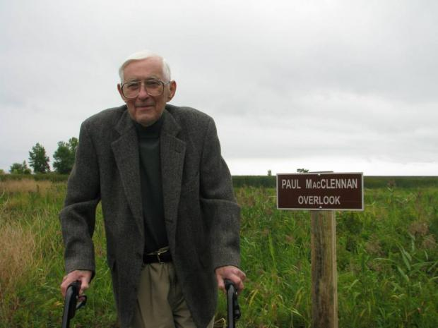 Paul MacClennan at the Paul MacClennan Overlook, Times Beach Nature Preserve, 2014 photo by jburney