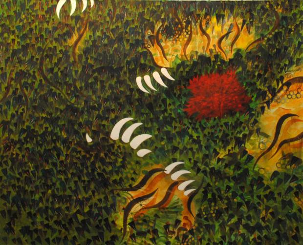 Rousseau's Blood by David Schirmer, 2001, oil on canvas, collection of Carol Vanderberg.