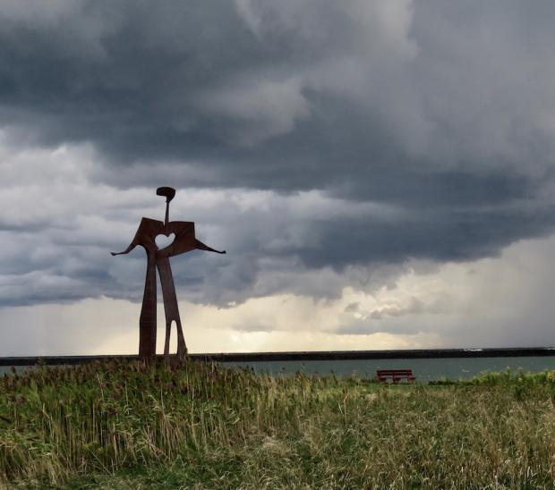 Storm Brewing on Buffalo's Outer Harbor Photo by J Burney (Flat Man Sculpture)