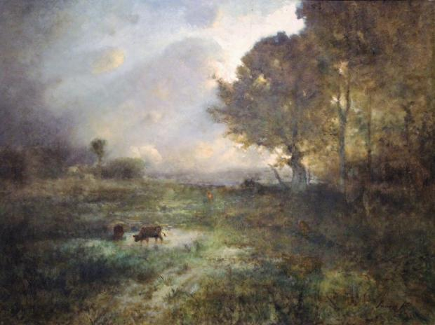 George Inness, (American, 1854-1926), The Sunburst, oil on board. Castellani Art Museum of Niagara University Collection, Gift of Dr. and Mrs. Armand J. Castellani, 1983.