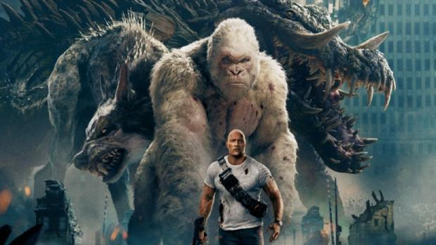 Dwayne Johnson and his Rampage co-stars.