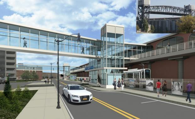 A proposed $45 million pedestrian bridge linking KeyBank Center and the DL&W termnal. Image courtesy of the NFTA.