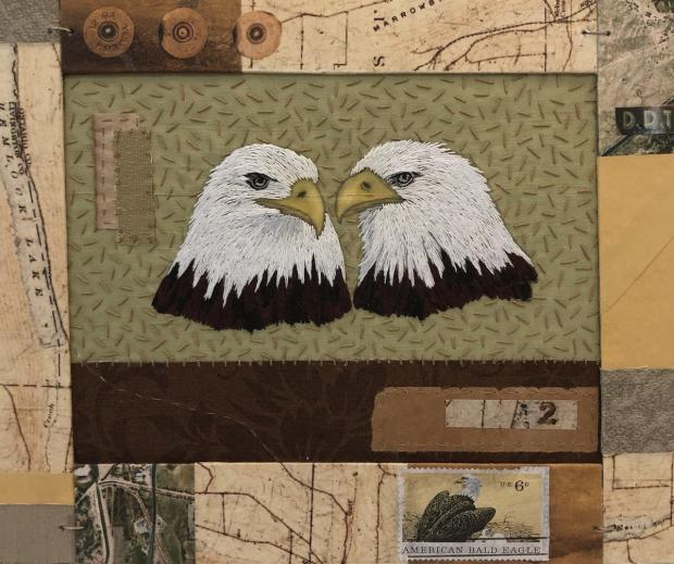 Bald Eagles by Marie Hassett, part of the artist's show at Art Dialogue Gallery.