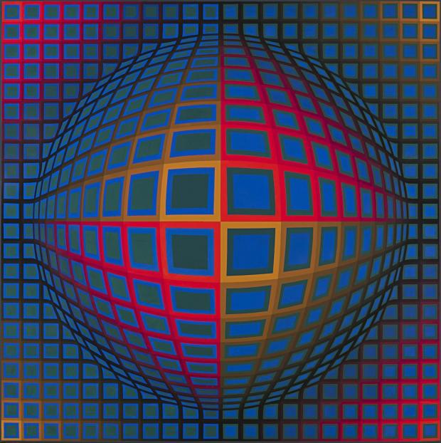 Victor Vasarely (French, born Hungary, 1906-1997). Vega-Nor, 1969. Oil on canvas, support: 78 3/4 x 78 3/4 inches (200.03 x 200.03 cm); framed: 80 x 80 1/2 x 3 inches (203.2 x 204.47 x 7.62 cm). Collection Albright-Knox Art Gallery, Buffalo, New York; Gift of Seymour H. Knox, Jr., 1969 (K1969:29). © Fondation Vasarely / Artists Rights Society (ARS), New York / ADAGP, Paris.