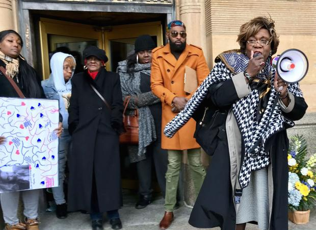 "A rally last weekend to call out Buffalo police and media for transphobia in recording and reporting the murder of Tonya ""Kita"" Harvey. Photo by Harper Bishop."