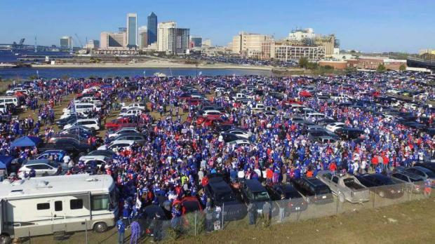 Buffalo fans congregate in Jacksonville on Sunday.