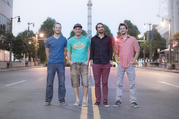 Left to righ: Evan McPhaden, Rob Houk, Mike Gantzer, and David Loss of Aqueous. Photo by Nick Sonricker.