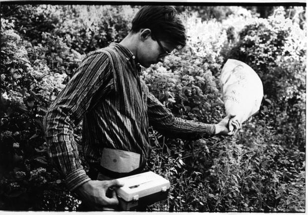 Tony Conrad making field recordings, Atlanta, 1965. Image courtesy Tyler Hubby. Photograph by Frederick Eberstadt/LOOK Magazine Photograph Collection, Library of Congress.
