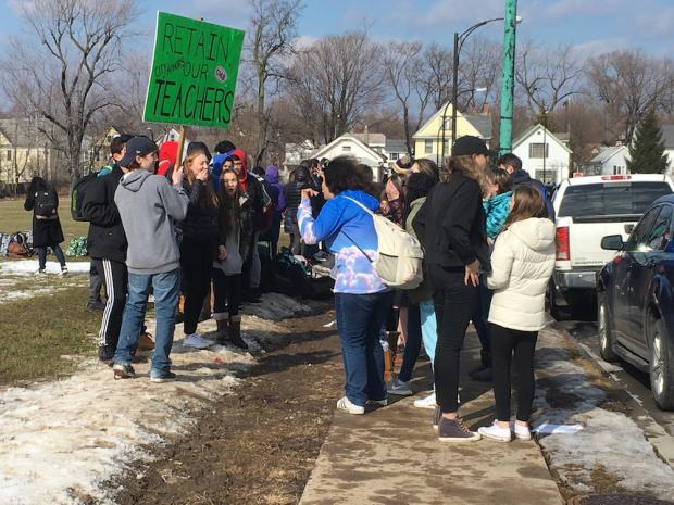City Honors students protest faculty cuts at their school last month.