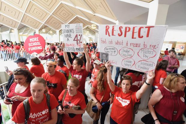 Public school teachers rallying in North Carolina. Photo courtesy of the North Carolina Association of Educators.