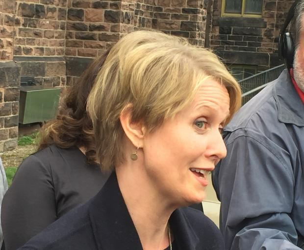Cynthia Nixon, endorsed by the Working Families Party and running for the Democratic nomination for governor this fall, held a press conference outside Babeville's 9th Ward on April 25.